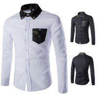 Cheap 2015 New Autumn Men's Fashion Design Camouflage Collar Cultivating Long-sleeved Men Shirt with Pocket White&Black Plus Size 2XL