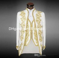 Wholesale White And Gold Embroidery Groom Tuxedos Best Men s Suit Groomsmen Mens Wedding Suits Prom Suits Jacket Pants Vest Tie