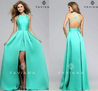 Wholesale Spearmint Prom Dresses Long FAVIANA Sexy Sleeveless Backless Front Split Satin Formal Party Dress Evening Gown