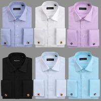 Wholesale New French cuff stripe mens dress shirts men shirt long sleeve camisa social diamond buttom high quality social shirt