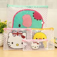 Wholesale Randomly creative stationery office supplies kawaii cartoon file folder cute school supplies transparent pencil case