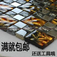 Wholesale Hand painted gold plated stainless steel crystal glass mosaic tile living room bedroom TV backdrop puzzle