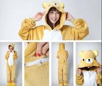 athletics animations - Animation Rilakkuma plus size jumpsuits costume Bear Animal Pyjamas Costume Coral Fleece Animal Sleepwear lovely onesies