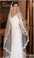 ivory wedding veils - Narrow lace White Ivory WEDDING VEIL M