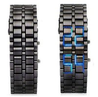 Wholesale Hot selling Lava Samurai Iron Man Blue Led watch Black Metal Steel Bracelet Digital WristWatch Date Clock Creative Relogio gift