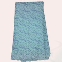 cotton lace fabric - Item NO LCL12 sky blue yards African embroidery cotton lace fabric Pretty Swiss voile lace fabric for dress