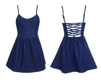krazy dresses - Krazy summer popular in Europe and America with a chest pad sexy cross halter Dress ebay selling jeans denim skirt