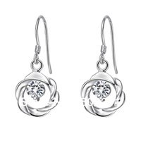az fashion - 2015 hot sale fashion Sterling Silver silver round drop earrings with cz crystal for birthday gift g AZ
