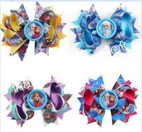 badge hair - 30pcs Creative Badge Bottle caps Frozen Bowknot Snow Queenn Elsa Anna princess hair accessories cartoon hair bows clip HD3373