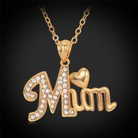 Wholesale Mother s Day Gift Love MUM Heart Pendant K Real Gold Plated Rhinestone Necklaces Pendants Jewelry For Women P697