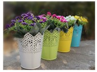 galvanized steel - Steel Herb Print Galvanized Flower Pots Garden Planter Suit For Outdoor Indoor Modern Style Garden Accessories E499L