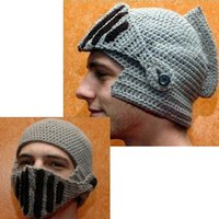 Wholesale Factory Price Roman Knight Helmet hat for unisex cotton acrylic Skull Knit Crochet Gladiator Mask Windproof Snowboard Beanies hat waitingyou