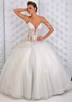 corset bodice wedding dress - Gorgeous Ball Gown Princess Corset Bodice Sheer Wedding Dresses Applique Floor Length Bridal Wedding Dress Gown Affordable Young Girl Dress