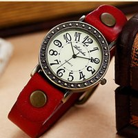 Wholesale Fashion Vine Watch Women Casual New Style Quartz Watches Ladies Leather Strap Alloy Wristwatch Watched Relojes Mujer hot