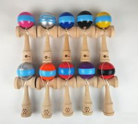 wooden ball - Wood Game Toy Stripe Kendama Ball With logo Kendama Striped Wooden Technique Japanese Traditional Toys