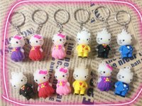 Wholesale New Key Chains cartoon HELLO KITTY three dimensional doll toy Mobile phone chain