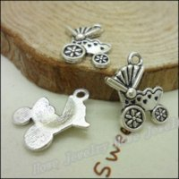 antique stroller - 80 Vintage Charms Stroller Pendant Antique silver Fit Bracelets Necklace DIY Metal Jewelry Making Charms