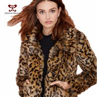 Wholesale Sexy Leather Jackets Fur - Wholesale-Women Warm Coat Long Sleeve Turn Down Collar Leopard Printed Fur Leather Sexy Casual Jacket Coat 2015 New Arrival