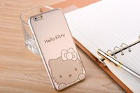 For Apple iPhone mobile phone market - The ultra low price market burst Hello Kitty ultra thin mobile phone shell cartoon Apple tyrant gold mobile phone protection shell