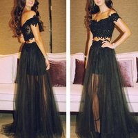 Wholesale Cheap Two Pieces Prom Dresses Long Black Lace Tulle Formal Evening Dresses With Sheer Skirt Prom Party Gowns