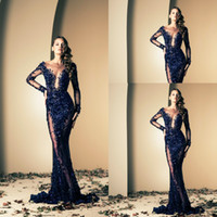 naked 2 - 2015 Ziad Naked Dark navy sexy mermaid sheer evening pageant dresses with long sleeves bateau applique lace sweep train prom gowns BO2145