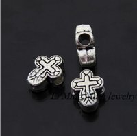 Wholesale Hot Tibetan Silver Cross Spacers Big Hole Beads Fit For Pandora Bracelet Necklace mm