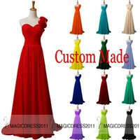 Reference Images black coral - 2015 Custom made Long Prom Evening Dresses A Line One Shoulder Red Coral Blue Pink Green Champagne Black Cheap Bridesmaid Dress Party Gowns