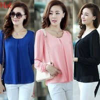 Wholesale 2015 New Chiffon Blouse Shirts Fashion Hot Sale Plus Size Casual Long Sleeve Blouse Tops For Women Clothing Black Blue Pink Green SV001416