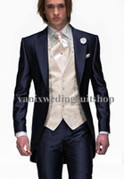 Wholesale 2016 New Arrivals Groom Tuxedos peaked Lapel one Button Groomsmen Suits Mens Wedding Suits Jacket Pants Vest Tie Free Shiping