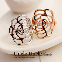 Wholesale 18K Rose Gold Plated Hollow Out Design Camellia Flower Element Fashion Lady Finger Ring