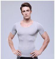 Wholesale 2015 high quality Retail sale Men slimming body shaper V neck Shirt Sexy Compression Underwear Men Slimming short sleeves Shirt Tummy Waist