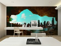 Wholesale Eco friendy d huge mural papel de parede d cave out sight city for bedroom and sofa tv wallpaper murals