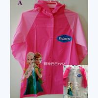 Wholesale Children Frozen Raincoat Children Rain Cape Cartoon Pattern Elsa Anna Princess Kids Child PVC Hooded Rain Coat Rainwear Styles