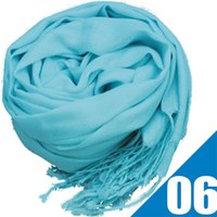 Wholesale Hot Mixed Pashmina Cashmere Solid Shawl Wrap Women s Girls Ladies Scarf Soft Fringes Solid Scarf Via DHL