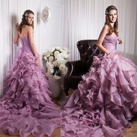 Vestidos de novia de imitación de la imagen real de la sirena A-Line plisados tutú púrpura 2016 sexy largo princesa cabida coloridos vestidos de novia tren capilla