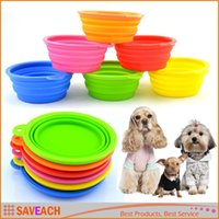 Wholesale 1pcs HOT Dog Pet Portable Silicone Collapsible Travel Feeding Bowl Water Dish Feeder Candy Color