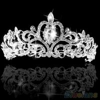 Cheap Wedding Bridal Princess Austrian Crystal Prom Hair Tiara Crown Veil Headband Silver Wedding 1SL4