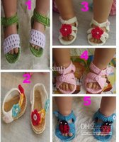 crochet yarn - Soft m Summer Newborn Baby Crochet handmade Knitting Booties cotton yarn sandals shoes Toddler