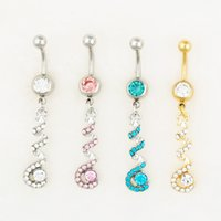 bell face - 0554 body jewelry Nice style Navel Belly ring mix colors stone drop shipping factory price