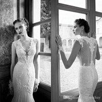Cheap Trumpet/Mermaid white wedding dresses Best Reference Images V-Neck v neck mermaid