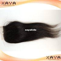 Wholesale Newest top quality unprocessed remy human hair pieces silky straight Brazilian human hair no shedding lace closure CB133
