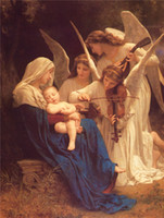 angels songs - HUGE OIL PAINTING MODERN ABSTRACT WALL DECOR ART CANVAS No stretch William Adolphe Bouguereau Song of the Angels