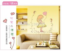 Wholesale High quality Little Girl Balloon DIY Removable Art Vinyl Wall Stickers Kids Bedroom Decor Mural Decal AY7084