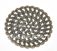 Wholesale Bronze Tone Filigree Round Wraps Connector Embellishments Jewelry Findings x48mm W03482 X