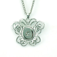 Wholesale Fashion Pendant Necklaces Silver Plated mm Ginger Snap Buttons Butterfly DIY Interchangeable For Women Statement Necklace Jewelry