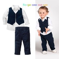 Wholesale 2015 Fashion New Children Child Baby Clothes Kids Boys Long Sleeve Shirt Vest and Trousers Clothing Sets Kids Clothes Sets
