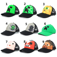 lorries - Minecraft JJ Monster Creeper Toy Hat baseball hat Creeper Caps Cartoon Trucker Caps Lorry Caps Kids Adjustable Hats styles