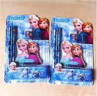 Wholesale 2014 Frozen Wallet Suit Children Stationery Set set Pencil ruler pencil sharpener eraser wallet Learning Toys BO6913