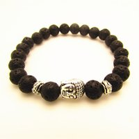 Wholesale Natural Black Lava Energy Stone Beads Silver Buddha Bracelets New Products for Mens and Womens GIft