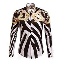 Wholesale 2015 Designer Shirts Men Zebra Print Luxury Casual Slim Fit Stylish Dress Shirts Long sleeved Mens Shirts Cotton Fashion size M L XL XXL XL